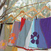 Elisabethan skirts, handmade from repurposed fabrics.