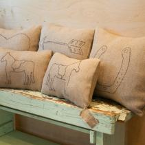 2011© David Agnello made by e.e. hand-stitched linen pillows.