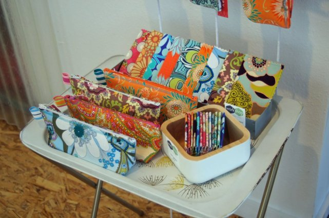 Makeup bags, biz card holders, checkbook covers and more.