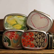 Susan Fleming Belt Bucks, Silver and resin.