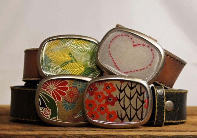 Susan Fleming Belt Bucks, Silver and resin.